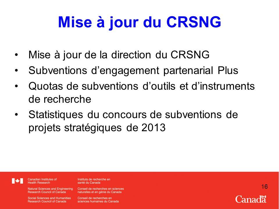16 Mise à jour du CRSNG Mise à jour de la direction du CRSNG Subventions dengagement partenarial Plus Quotas de subventions doutils et dinstruments de recherche Statistiques du concours de subventions de projets stratégiques de 2013