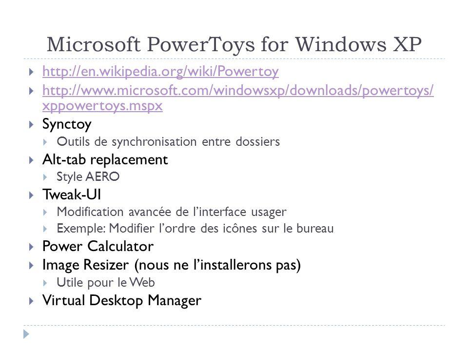 La semaine prochaine Sysinternals http://technet.microsoft.com/en-us/sysinternals/default.aspx FileMon ProcessMonitor TCPView ProcessExplorer Desktop BgInfo PowerToys http://www.microsoft.com/windowsxp/Downloads/powertoys/Xppowertoys.msp x http://www.microsoft.com/windowsxp/Downloads/powertoys/Xppowertoys.msp x Synctoy Alt-tab replacement Tweak-UI Power Calculator Image Resizer Virtual Desktop Manager
