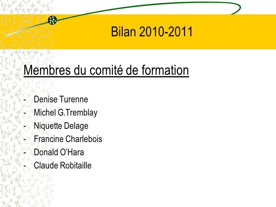 Bilan 2010-2011 Membres du comité de formation -Denise Turenne -Michel G.Tremblay -Niquette Delage -Francine Charlebois -Donald OHara -Claude Robitaille