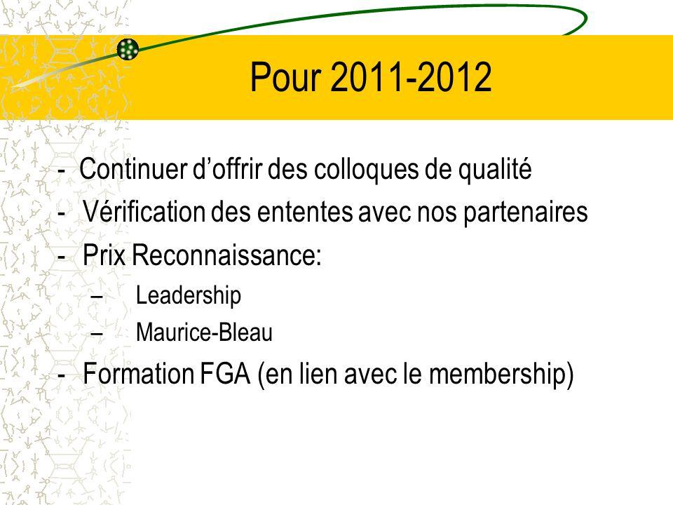 Pour 2011-2012 - Continuer doffrir des colloques de qualité -Vérification des ententes avec nos partenaires -Prix Reconnaissance: – Leadership – Maurice-Bleau -Formation FGA (en lien avec le membership)