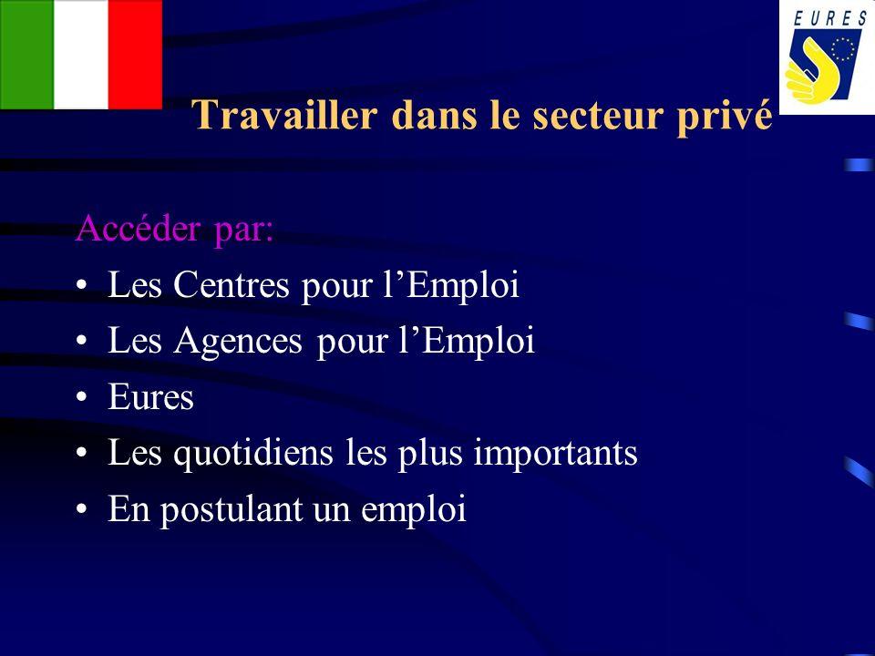 Travailler dans le secteur privé Accéder par: Les Centres pour lEmploi Les Agences pour lEmploi Eures Les quotidiens les plus importants En postulant