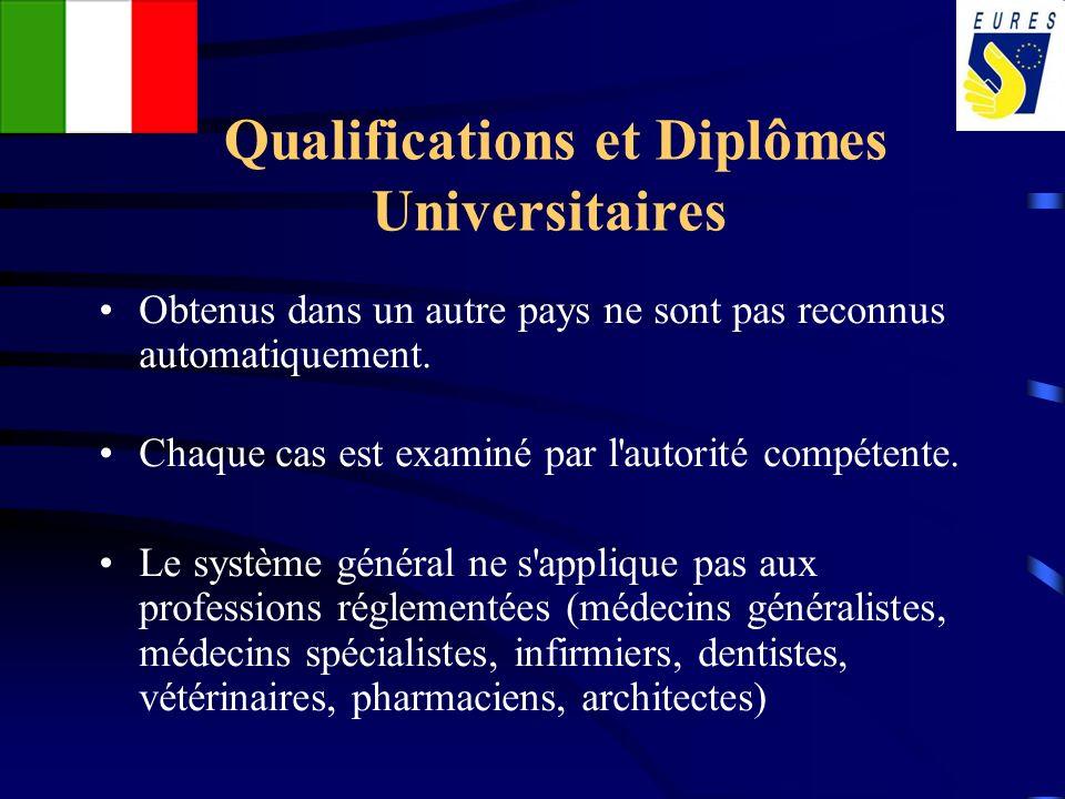 Qualifications et Diplômes Universitaires Obtenus dans un autre pays ne sont pas reconnus automatiquement. Chaque cas est examiné par l'autorité compé