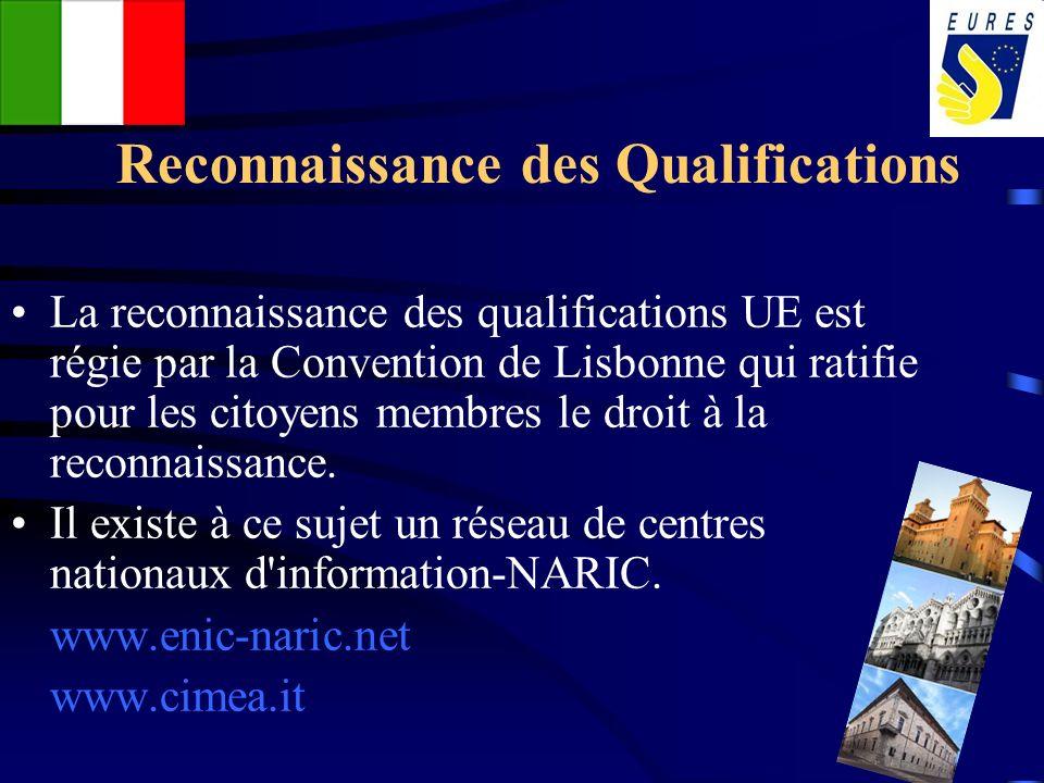 Reconnaissance des Qualifications La reconnaissance des qualifications UE est régie par la Convention de Lisbonne qui ratifie pour les citoyens membre