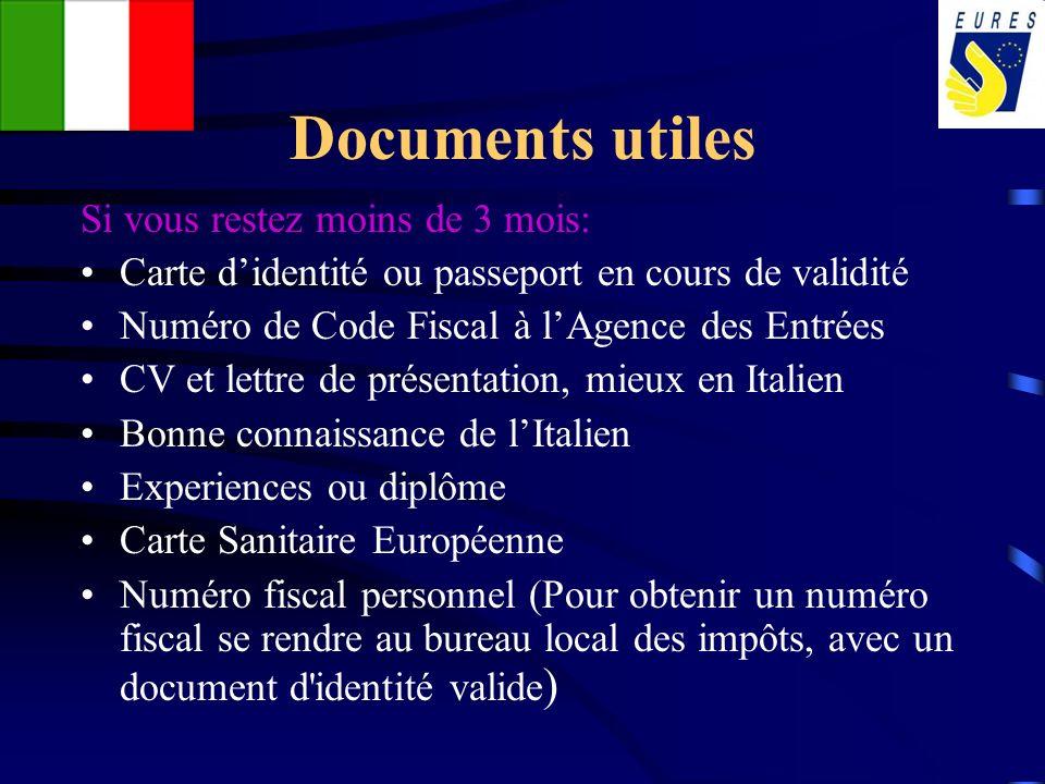 Documents utiles Si vous restez moins de 3 mois: Carte didentité ou passeport en cours de validité Numéro de Code Fiscal à lAgence des Entrées CV et l