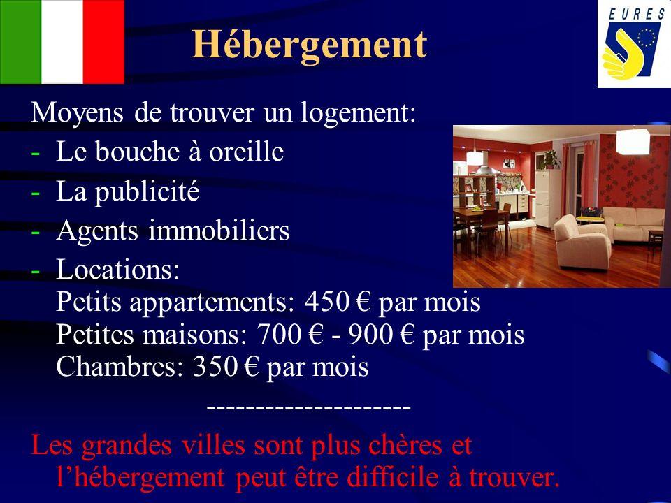 Hébergement Moyens de trouver un logement: -Le bouche à oreille -La publicité -Agents immobiliers -Locations: Petits appartements: 450 par mois Petite