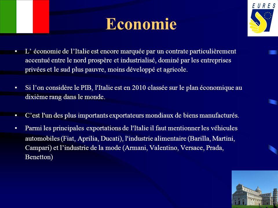 Economie L économie de lItalie est encore marquée par un contrate particulièrement accentué entre le nord prospère et industrialisé, dominé par les en