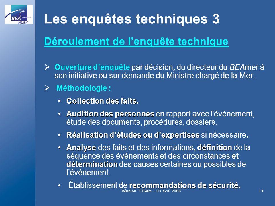 Réunion CESAM - 03 avril 200814 Les enquêtes techniques 3 Déroulement de lenquête technique Ouverture denquête par décision, du directeur du BEAmer à