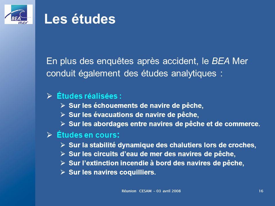 Réunion CESAM - 03 avril 200816 Les études En plus des enquêtes après accident, le BEA Mer conduit également des études analytiques : Études réalisées