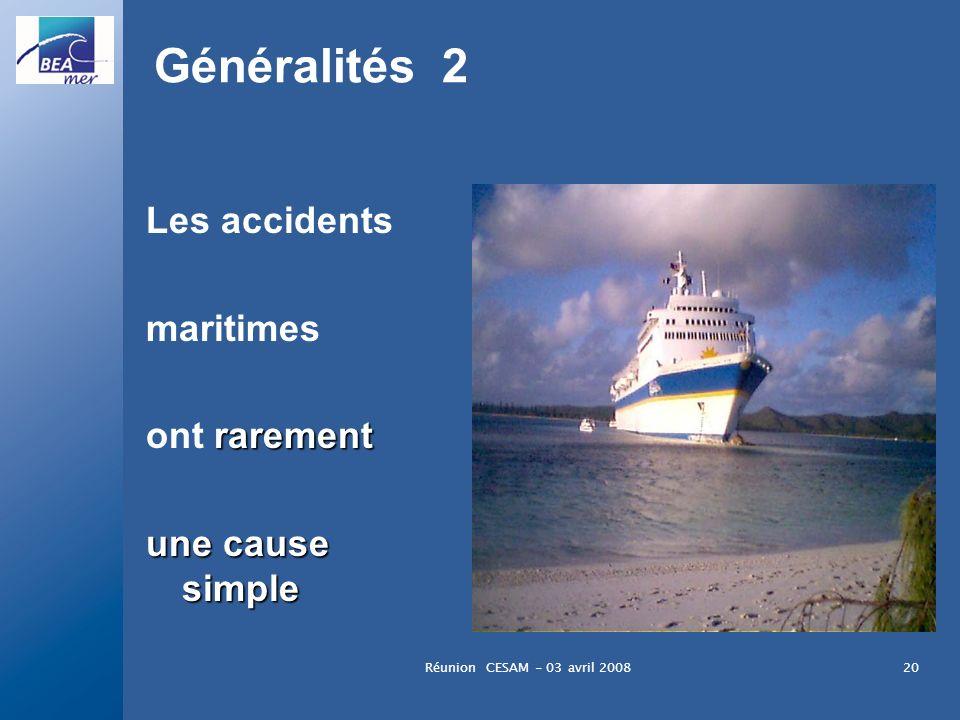 Réunion CESAM - 03 avril 200820 Généralités 2 Les accidents maritimes rarement ont rarement une cause simple