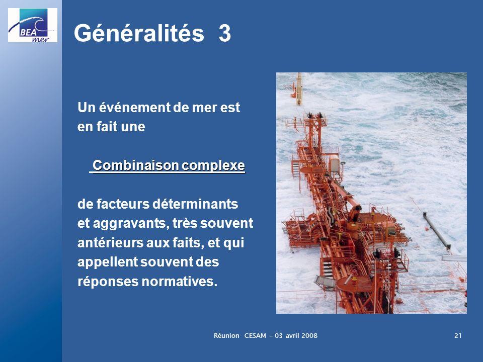 Réunion CESAM - 03 avril 200821 Généralités 3 Un événement de mer est en fait une Combinaison complexe de facteurs déterminants et aggravants, très so
