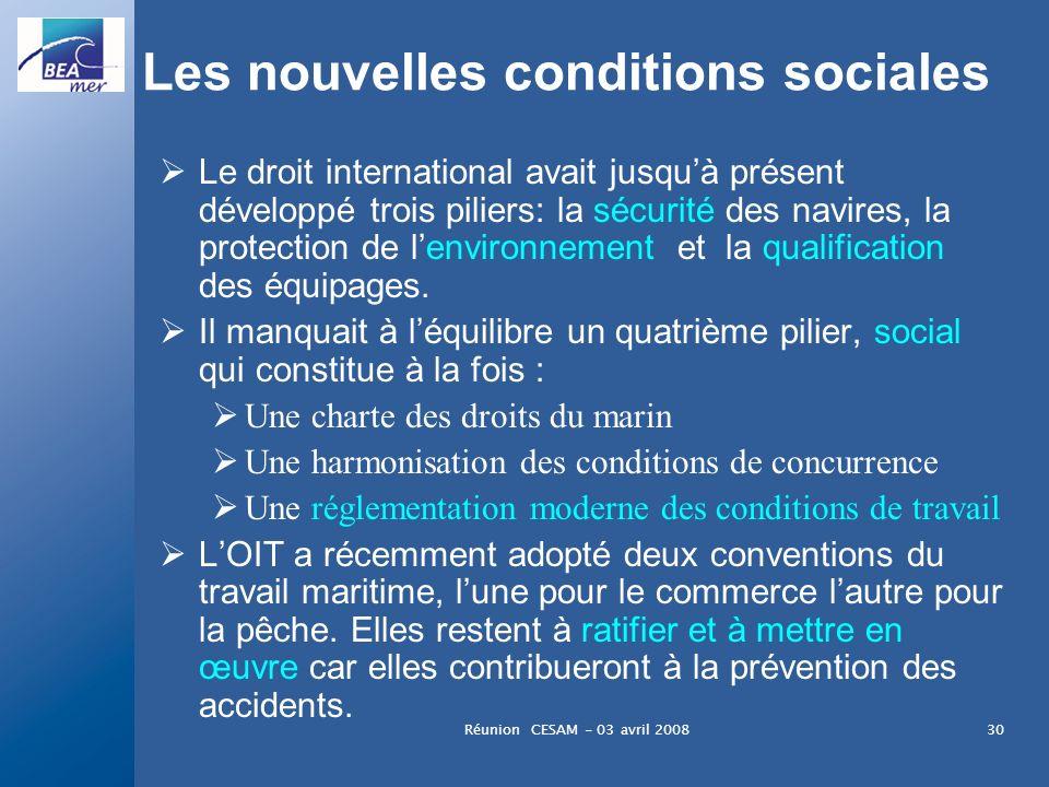 Réunion CESAM - 03 avril 200830 Les nouvelles conditions sociales Le droit international avait jusquà présent développé trois piliers: la sécurité des