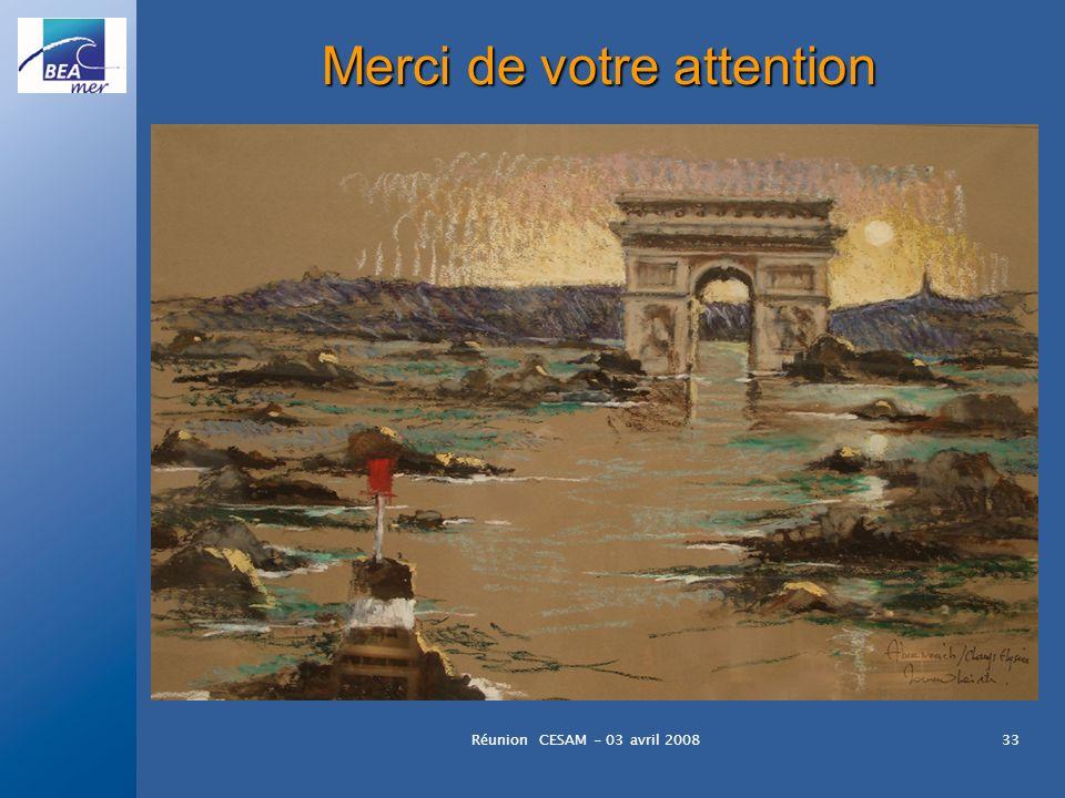 Réunion CESAM - 03 avril 200833 Merci de votre attention