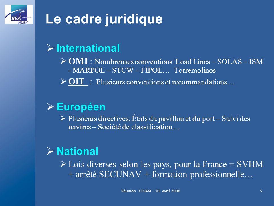 Réunion CESAM - 03 avril 20085 Le cadre juridique International OMI : Nombreuses conventions: Load Lines – SOLAS – ISM - MARPOL – STCW – FIPOL… Torrem