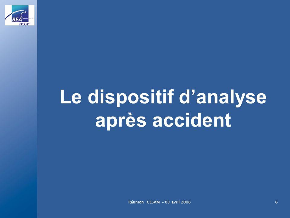 Réunion CESAM - 03 avril 20086 Le dispositif danalyse après accident