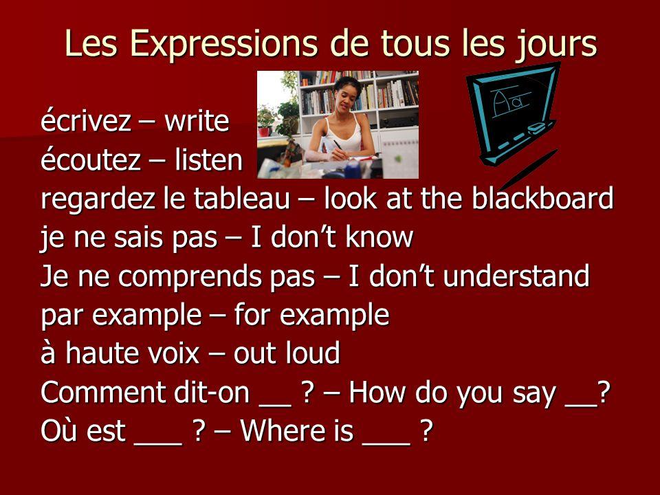 Que veut dire ___ .– What does ___ mean.