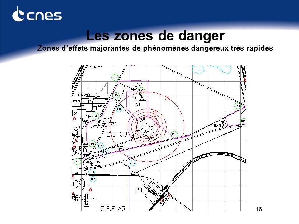 16 Les zones de danger Zones deffets majorantes de phénomènes dangereux très rapides