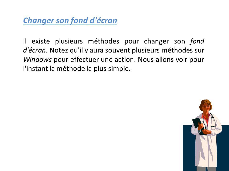 Changer son fond d écran Il existe plusieurs méthodes pour changer son fond d écran.