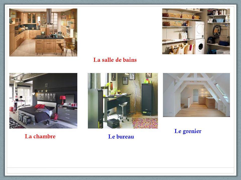 La salle de bains La chambre Le bureau Le grenier