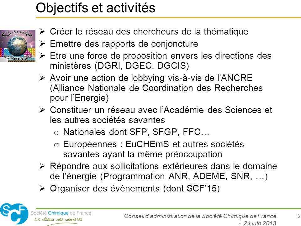 Conseil dadministration de la Société Chimique de France - 24 juin 2013 2 Objectifs et activités Créer le réseau des chercheurs de la thématique Emett
