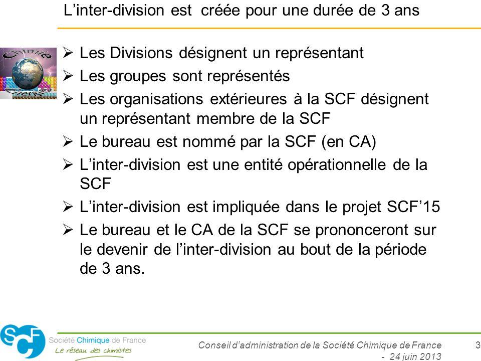 Conseil dadministration de la Société Chimique de France - 24 juin 2013 3 Linter-division est créée pour une durée de 3 ans Les Divisions désignent un
