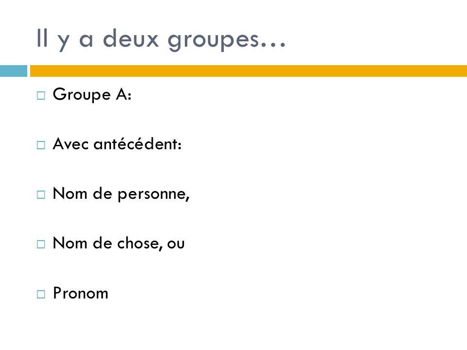 Il y a deux groupes… Groupe A: Avec antécédent: Nom de personne, Nom de chose, ou Pronom