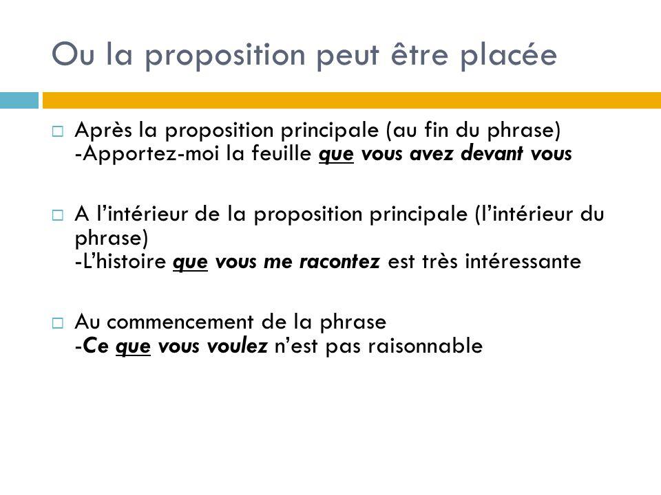 Ou la proposition peut être placée Après la proposition principale (au fin du phrase) -Apportez-moi la feuille que vous avez devant vous A lintérieur