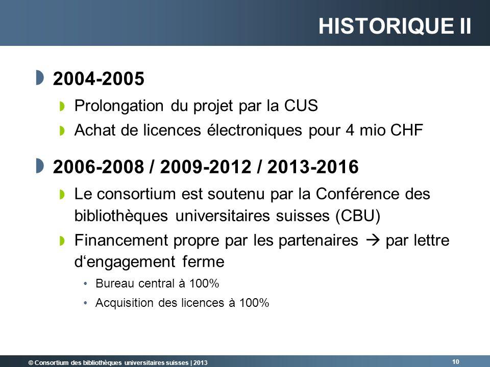 © Consortium des bibliothèques universitaires suisses | 2013 10 2004-2005 Prolongation du projet par la CUS Achat de licences électroniques pour 4 mio