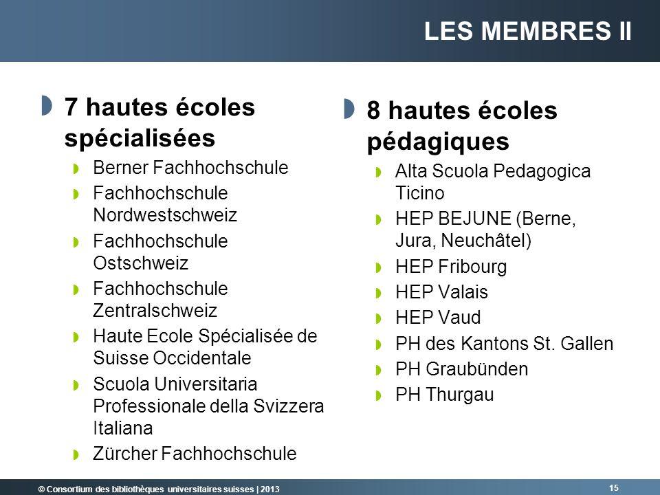© Consortium des bibliothèques universitaires suisses | 2013 15 7 hautes écoles spécialisées Berner Fachhochschule Fachhochschule Nordwestschweiz Fach