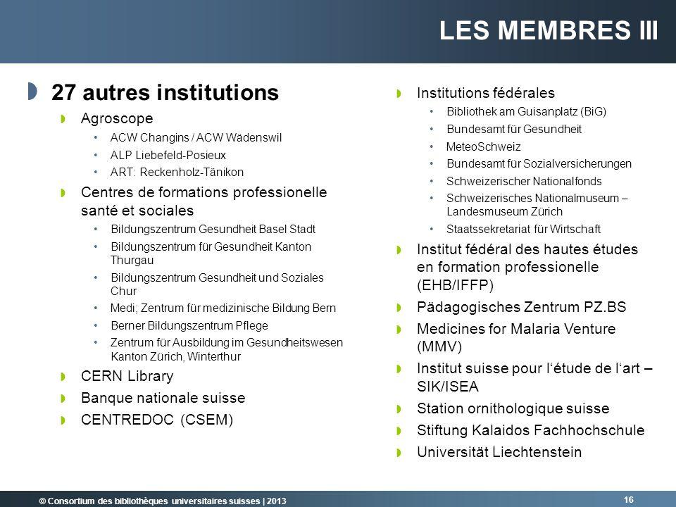 © Consortium des bibliothèques universitaires suisses | 2013 16 27 autres institutions Agroscope ACW Changins / ACW Wädenswil ALP Liebefeld-Posieux AR