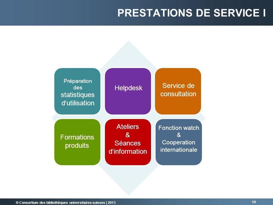 © Consortium des bibliothèques universitaires suisses | 2013 PRESTATIONS DE SERVICE I 19 Préparation des statistiques dutilisation Helpdesk Service de