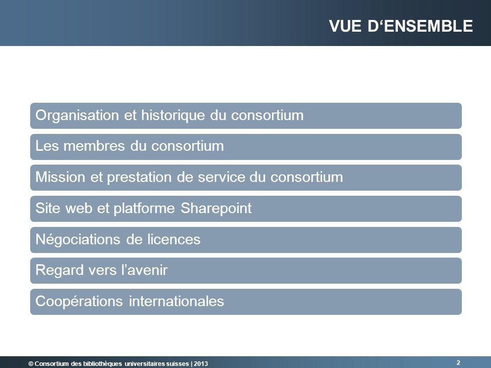© Consortium des bibliothèques universitaires suisses | 2013 2 VUE DENSEMBLE Organisation et historique du consortiumLes membres du consortiumMission