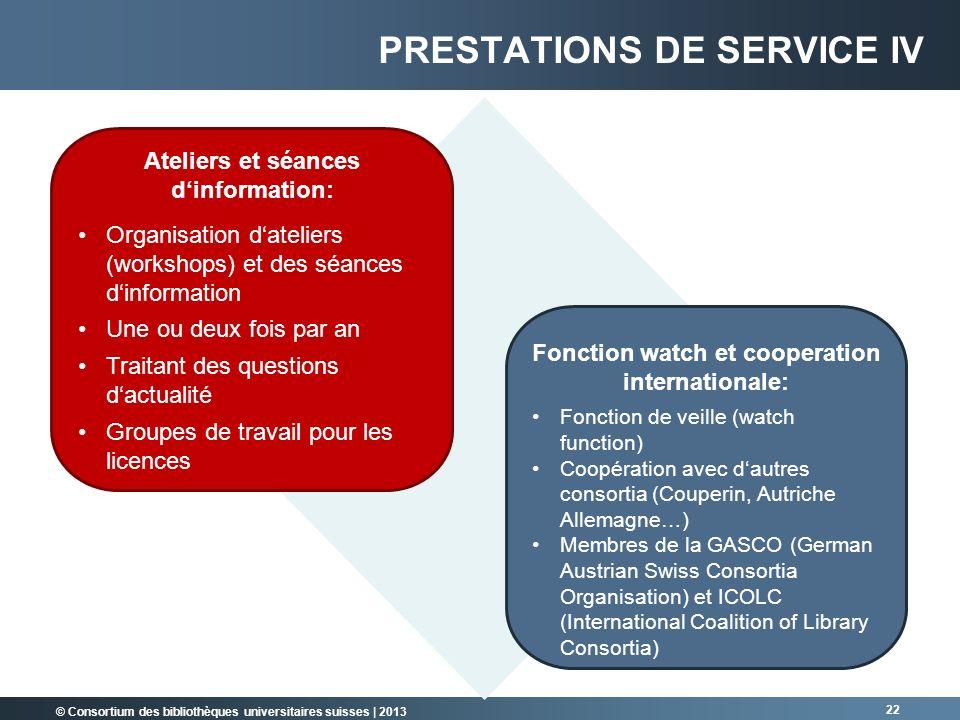 © Consortium des bibliothèques universitaires suisses | 2013 22 Fonction watch et cooperation internationale: Fonction de veille (watch function) Coop