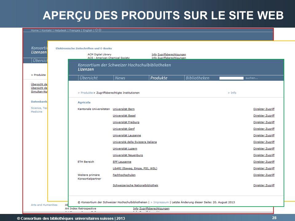 © Consortium des bibliothèques universitaires suisses | 2013 28 APERÇU DES PRODUITS SUR LE SITE WEB