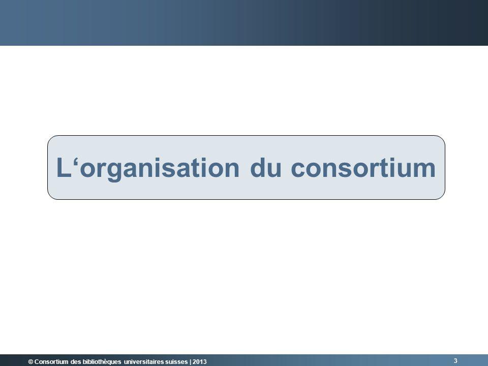 © Consortium des bibliothèques universitaires suisses | 2013 3 RÜCKBLICK Lorganisation du consortium