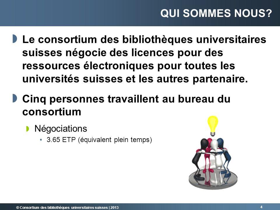 © Consortium des bibliothèques universitaires suisses | 2013 Le consortium des bibliothèques universitaires suisses négocie des licences pour des ress