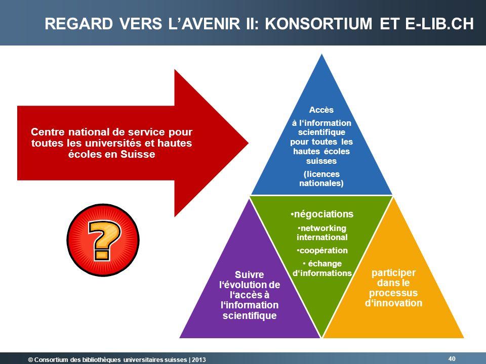 © Consortium des bibliothèques universitaires suisses | 2013 40 Accès à linformation scientifique pour toutes les hautes écoles suisses (licences nati
