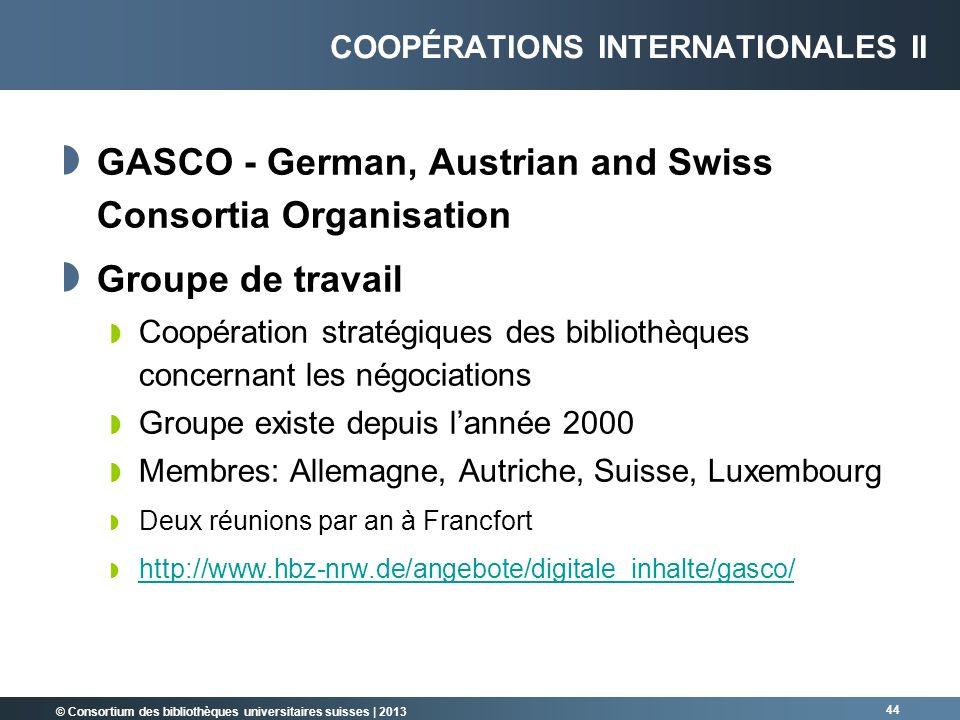 © Consortium des bibliothèques universitaires suisses | 2013 GASCO - German, Austrian and Swiss Consortia Organisation Groupe de travail Coopération s