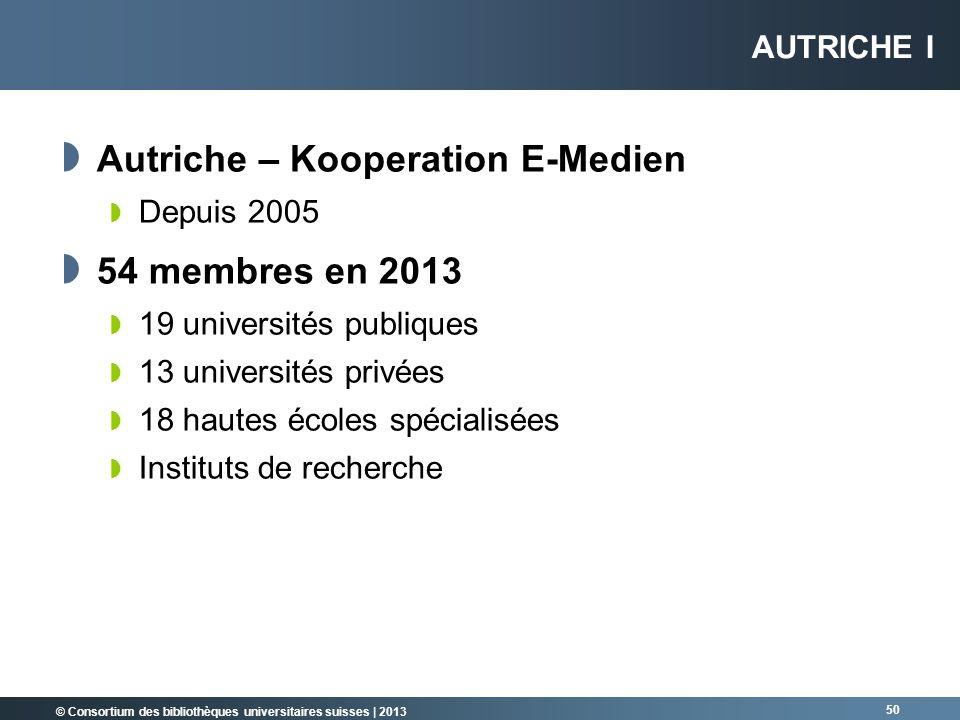 © Consortium des bibliothèques universitaires suisses | 2013 Autriche – Kooperation E-Medien Depuis 2005 54 membres en 2013 19 universités publiques 1