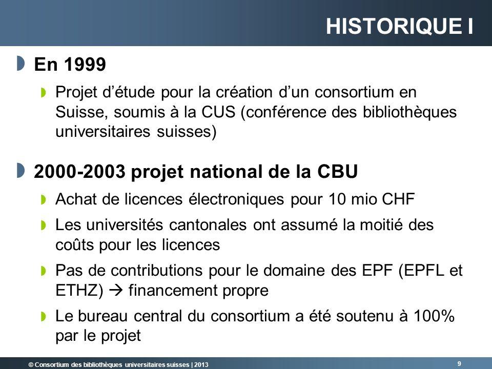 © Consortium des bibliothèques universitaires suisses | 2013 9 HISTORIQUE I En 1999 Projet détude pour la création dun consortium en Suisse, soumis à