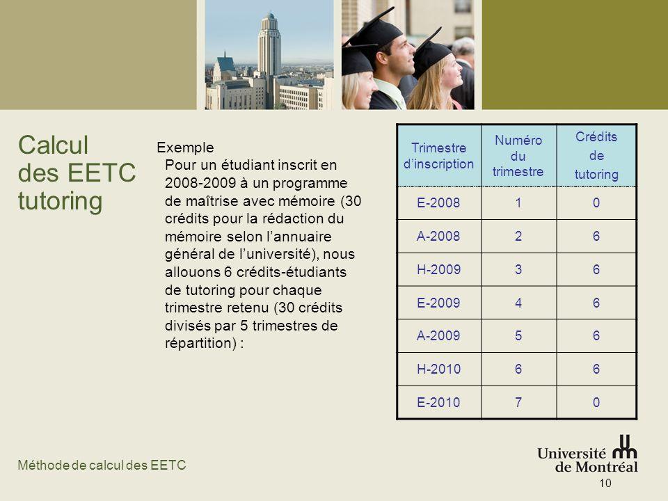 Calcul des EETC tutoring Exemple Pour un étudiant inscrit en 2008-2009 à un programme de maîtrise avec mémoire (30 crédits pour la rédaction du mémoir
