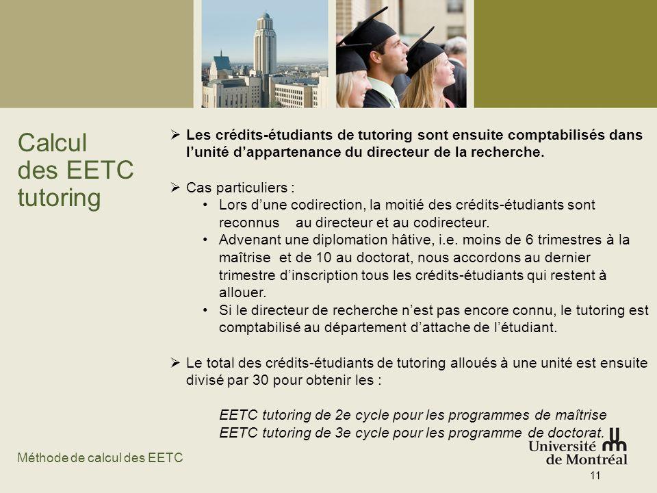 Calcul des EETC tutoring Les crédits-étudiants de tutoring sont ensuite comptabilisés dans lunité dappartenance du directeur de la recherche. Cas part