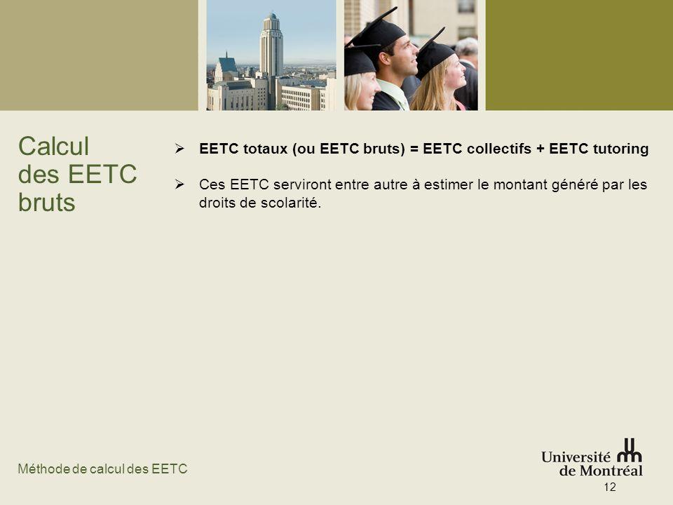 Calcul des EETC bruts EETC totaux (ou EETC bruts) = EETC collectifs + EETC tutoring Ces EETC serviront entre autre à estimer le montant généré par les