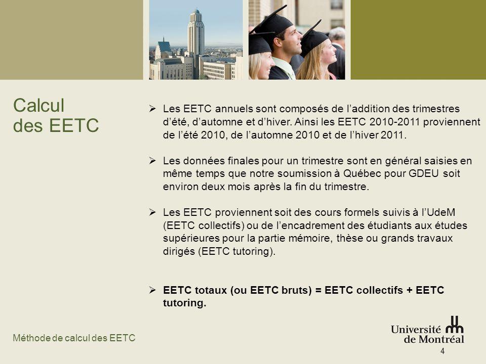 Calcul des EETC Les EETC annuels sont composés de laddition des trimestres dété, dautomne et dhiver. Ainsi les EETC 2010-2011 proviennent de lété 2010