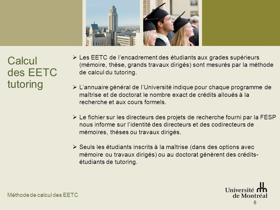 Calcul des EETC tutoring Les EETC de lencadrement des étudiants aux grades supérieurs (mémoire, thèse, grands travaux dirigés) sont mesurés par la mét