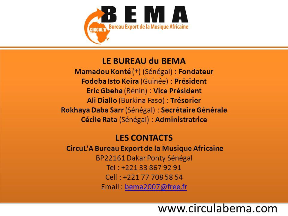 LE BUREAU du BEMA Mamadou Konté () (Sénégal) : Fondateur Fodeba Isto Keira (Guinée) : Président Eric Gbeha (Bénin) : Vice Président Ali Diallo (Burkina Faso) : Trésorier Rokhaya Daba Sarr (Sénégal) : Secrétaire Générale Cécile Rata (Sénégal) : Administratrice LES CONTACTS CircuL A Bureau Export de la Musique Africaine BP22161 Dakar Ponty Sénégal Tel : +221 33 867 92 91 Cell : +221 77 708 58 54 Email : bema2007@free.frbema2007@free.fr LE BUREAU du BEMA Mamadou Konté () (Sénégal) : Fondateur Fodeba Isto Keira (Guinée) : Président Eric Gbeha (Bénin) : Vice Président Ali Diallo (Burkina Faso) : Trésorier Rokhaya Daba Sarr (Sénégal) : Secrétaire Générale Cécile Rata (Sénégal) : Administratrice LES CONTACTS CircuL A Bureau Export de la Musique Africaine BP22161 Dakar Ponty Sénégal Tel : +221 33 867 92 91 Cell : +221 77 708 58 54 Email : bema2007@free.frbema2007@free.fr www.circulabema.com