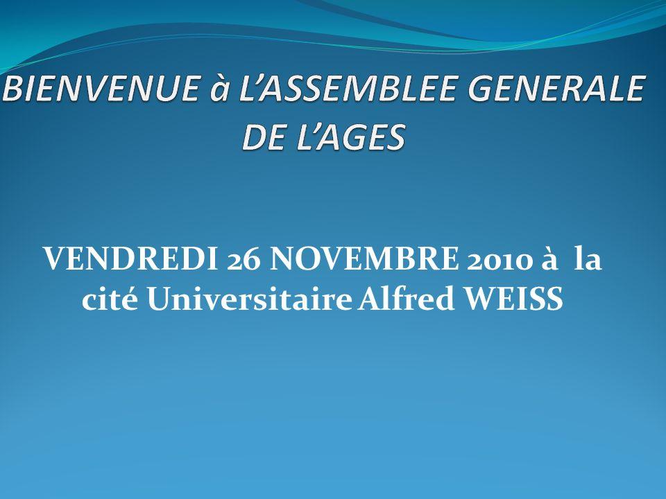 VENDREDI 26 NOVEMBRE 2010 à la cité Universitaire Alfred WEISS