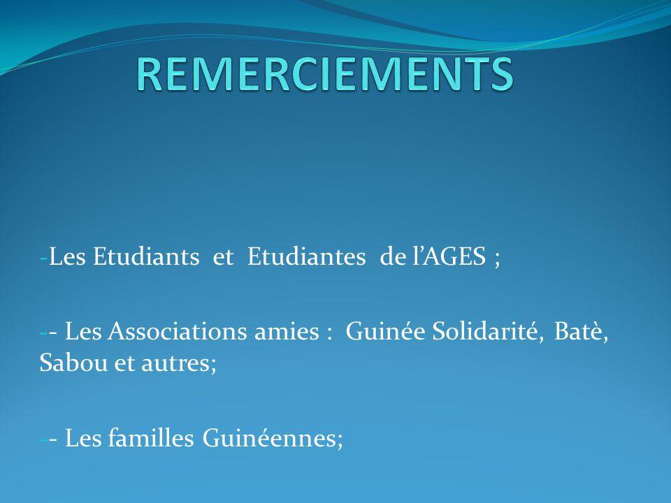 - Les Etudiants et Etudiantes de lAGES ; - - Les Associations amies : Guinée Solidarité, Batè, Sabou et autres; - - Les familles Guinéennes;