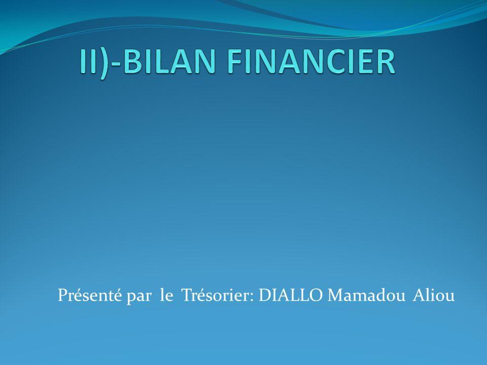 Présenté par le Trésorier: DIALLO Mamadou Aliou