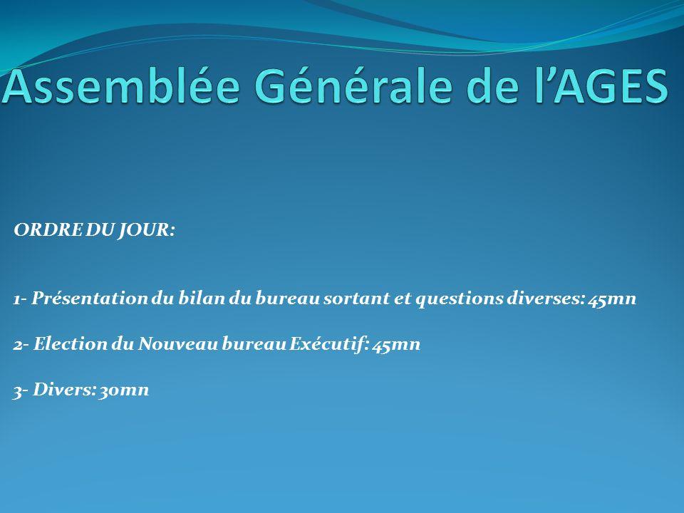 a)- Discours de bienvenue par le Président Sortant b)- Présentation des membres du bureau Sortant c)- Bilan annuel du bureau sortant c)- Questions diverses