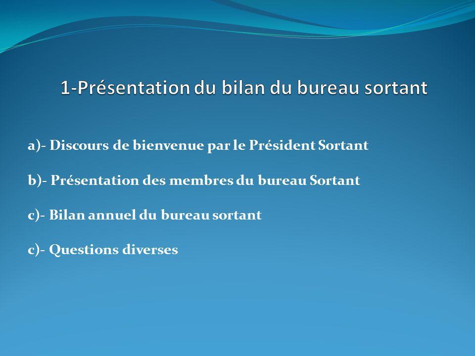 a)- Discours de bienvenue par le Président Sortant b)- Présentation des membres du bureau Sortant c)- Bilan annuel du bureau sortant c)- Questions div